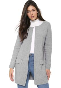 Maxi Cardigan Facinelli By Mooncity Tricot Cinza