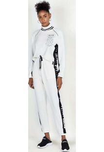 Blusa De Moletom Cropped Com Gola Tricot Off White
