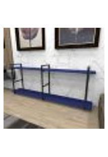 Aparador Industrial Aço Cor Preto 180X30X68Cm (C)X(L)X(A) Cor Mdf Azul Modelo Ind37Azapr
