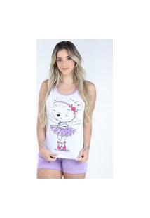 Pijama Curto Regata Bravaa Modas Baby Doll Short Blusinha 127 Lilás