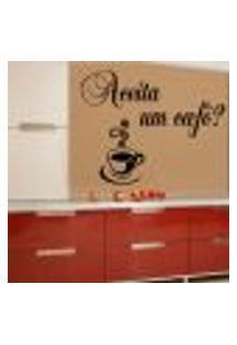 Adesivo De Parede Frase Aceita Um Café - Eg 78X98Cm