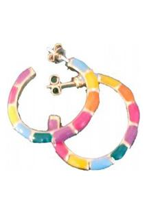 Argola Manoo Manoo Esmaltada Colorida Rainbow