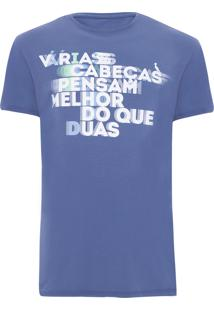 Camiseta Masculina Duas Cabeças - Azul