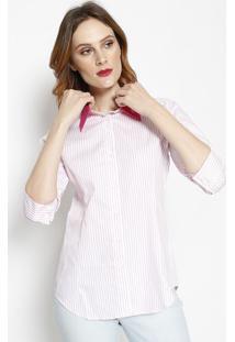 Camisa Listrada Com Recortes- Rosa & Rosa Claro- Dbzdbz Jeans