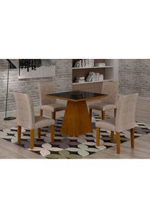 Conjunto De Mesa De Jantar Luna Com 4 Cadeiras Ane Ii Suede Amassado Imbuia, Preto E Chocolate