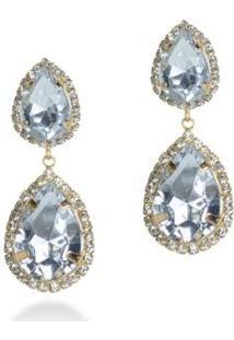 Brinco Pedra Pura Gota Cristal Feminino - Feminino-Prata