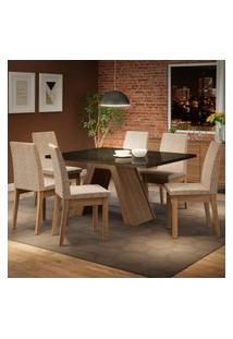 Conjunto Sala De Jantar Madesa Pietra Mesa Tampo De Vidro Com 6 Cadeiras Marrom