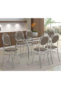 Mesa 379 Com Vidro Incolor Cromada Com 6 Cadeiras 190 Camurça Conhaque Carraro