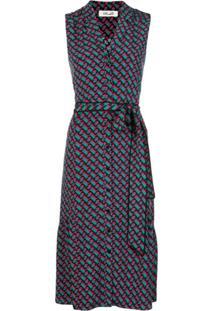 Dvf Diane Von Furstenberg Vestido Midi Delilah Com Cinto - Azul