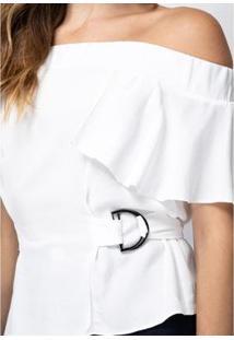 Blusa Lança Perfume Com Amarração Feminina - Feminino-Branco