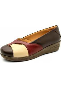 Sapato Anabela Doctor Shoes 194 Café/Morango