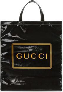 Gucci Bolsa Tote Média Com Estampa Gucci - Preto