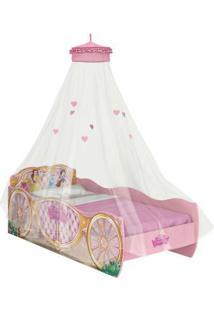 Bicama Princesas Pura Magia Disney C/Dossel Teto Fun Rosa