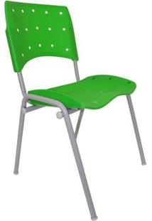 Cadeira Fixa Ergoplax Plástica Base Cinza - Verde