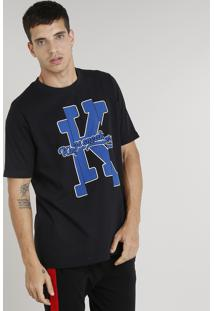 Camiseta Masculina Kings Sneakers Manga Curta Gola Careca Preta