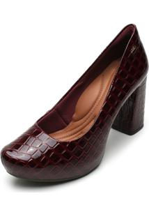 Scarpin Dakota Croco Bordô