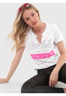 Camiseta Coca-Cola Jeans Lettering Neon Branca