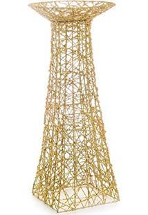 Castiçal Porta Vela Decoração 47Cm Dourado