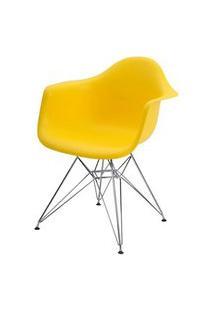 Cadeira Eames Eiffel Com Braco Polipropileno Cor Amarelo Base Cromada - 44919 Amarelo