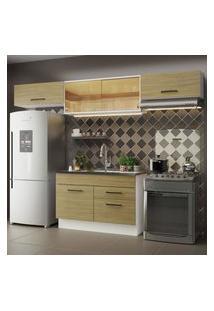 Cozinha Compacta Madesa Agata 280001 Com Armário E Balcáo - Branco/Carvalho Marrom