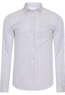 Camisa Masculina Mini Quadriculado - Branco
