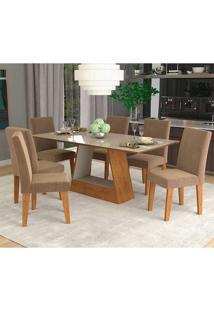 Conjunto De Mesa Com 6 Cadeiras Para Sala De Jantar 180X90 Alana/Milena-Cimol - Savana / Off White / Pluma