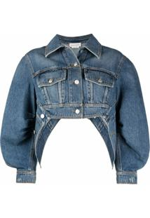 Alexander Mcqueen Cropped Puff-Sleeve Denim Jacket - Azul