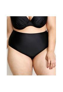 Biquíni Calcinha Plus Size Hot Pant Com Proteção Uv50+ Preto