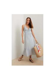 Vestido Iodice Midi Decote Amarração Bordado Azul
