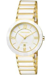 Relógio Feminino Technos Ceramic 2015Bv/4B 40Mm Aço Dourado/Cerâmica Branca - Feminino