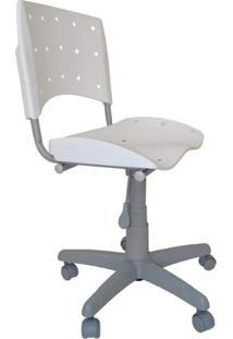 Cadeira Giratória Ergoplax Plástica Base Cinza - Branco