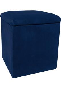 Puff Decorativo Baú Dani Quadrado Suede Azul Marinho - D'Rossi