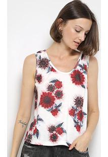 Regata My Favorite Thing(S) Estampa Floral Feminino - Feminino-Branco+Vermelho