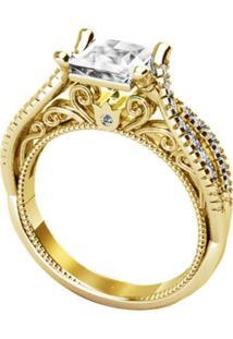 Anel Majestosa Cristal Solitário Banhado A Ouro 18K - Kanui