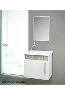 Gabinete Para Benheiro Kit Soft Susp. - Balcão + Espelheira + Marmorite - Branco Salina