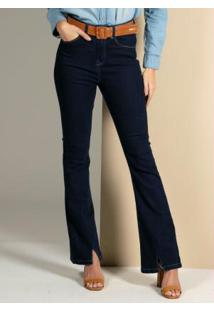 Calça Jeans Flare Com Abertura Na Barra