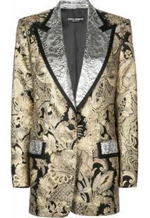 Dolce & Gabbana Jaqueta Jacquard Com Lapelas Contrastantes - Preto