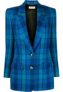 Saint Laurent Blazer Com Abotoamento Simples E Padronagem Xadrez - Azul