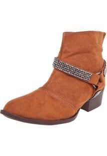 Bota Dafiti Shoes Cano Curto Strass Caramelo