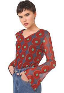 Blusa Desigual Tule Karoley Azul/Vermelha