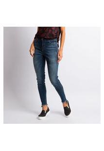 Calça Jeans Skinny Feminina Com Barra Assimétrica Desfiada Azul Escuro Estonado