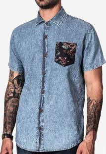 Camisa Jeans Bolso Floral 200070