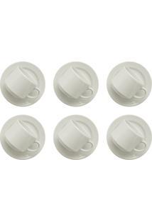 Conjunto 6 Xícaras De Chá 180Ml Com 6 Pires Biona Donna Branco
