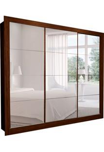 Guarda-Roupa Casal Com Espelho Helena 3 Pt 8 Gv Marrom 242 Cm