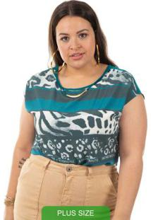 Blusa Com Estampa Animal Print Verde Cativa Mais