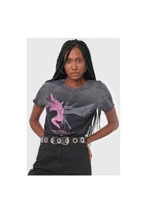 Camiseta Ellus Free Falling Cinza/Rosa