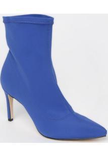 Bota Com Pesponto- Azul- Salto: 9Cmmya Haas