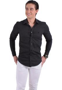 Camisa Social Estampada Horus Slim 100229 Preto