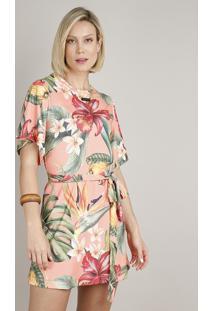 Vestido Feminino Curto Estampado De Caju Com Faixa Para Amarrar Manga Curta Coral