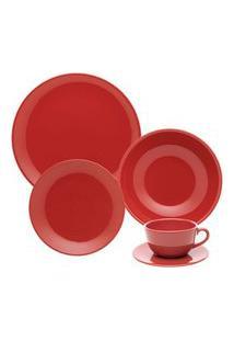 Aparelho De Jantar E Chá 30 Peças Unni Red